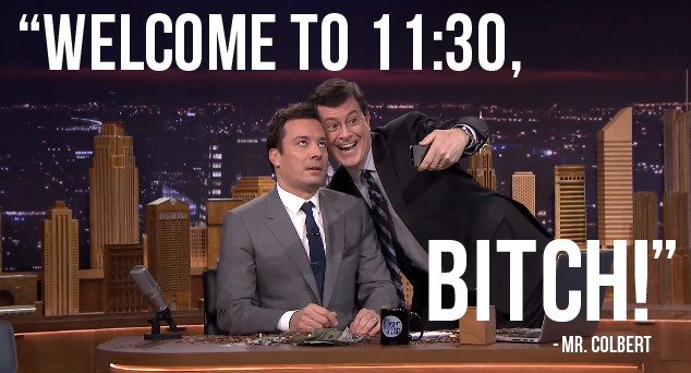 Colbert welcomes Jimmy to the time slot